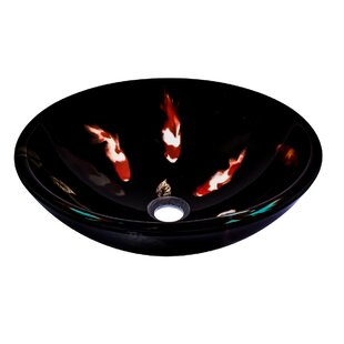 Fiche Glass Circular Vessel Bathroom Sink Novatto