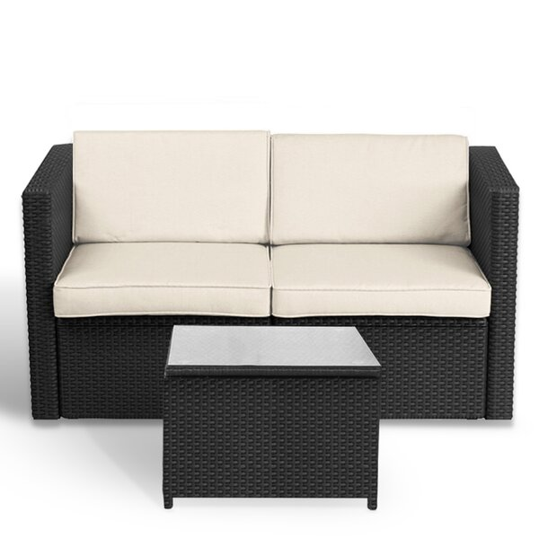 Alira 3 Piece Rattan Sunbrella Sectional Seating Group with Cushions by Latitude Run