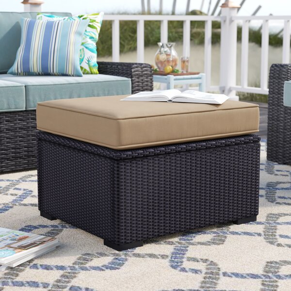 Dinah Outdoor Ottoman with Cushion by Highland Dunes