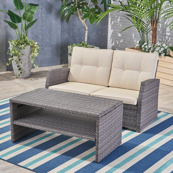 Pascua 2 Piece Rattan Sofa Seating Group with Cushions by Rosecliff Heights