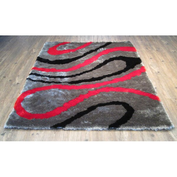 Cleavenger Modern Hand-Tufted Black/Red Area Rug by Orren Ellis