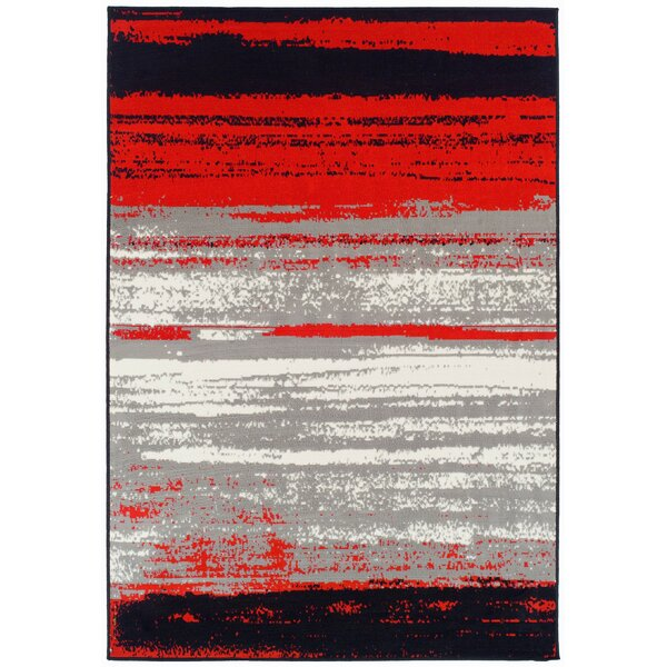 Grieco Contemporary Red/Black Indoor/Outdoor Area Rug by Ebern Designs