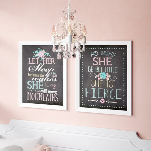 Helvey Let Her Sleep for When She Wakes She Will Move Mountains and Though She Be but Little She Is Fierce Framed Paper Print by Zoomie Kids