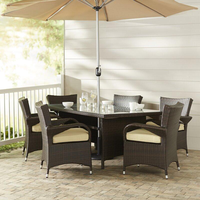 Berke 8 Piece Patio Set with Umbrella and Cushions