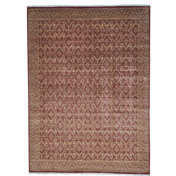 One-of-a-Kind Tone on Tone Hand-Knotted Burgundy/Beige Area Rug by Bloomsbury Market