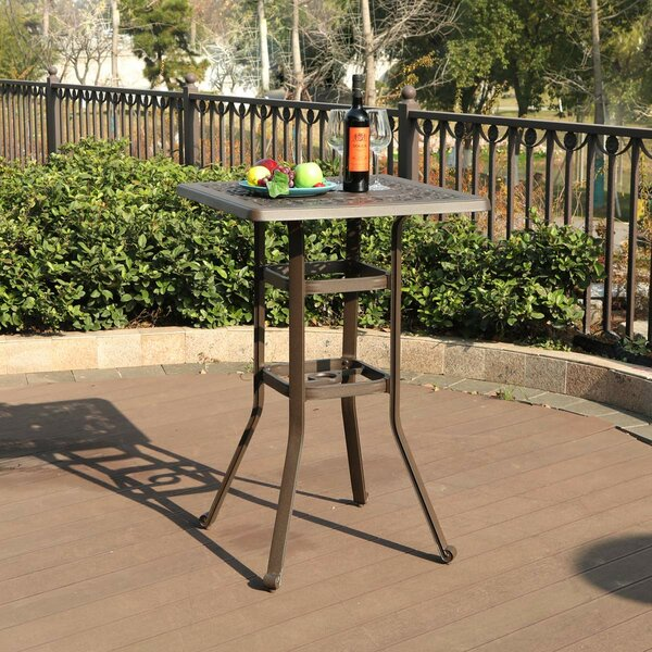 Caruthers Patio Outdoor Frosted Surface Square Cast Aluminum Bistro Table by Fleur De Lis Living
