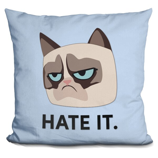 Hate It Grumpy Cat Throw Pillow by LiLiPi