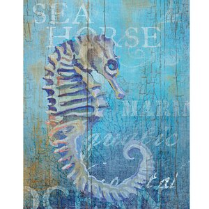 Seahorse and Sea-Crop by Ali Zoe Painting Print on Wrapped Canvas by Portfolio Canvas Decor
