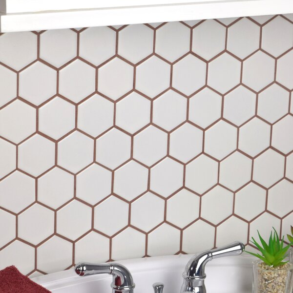 Retro Hexagon 2 x 2 HePorcelain Mosaic Tile in White by EliteTile