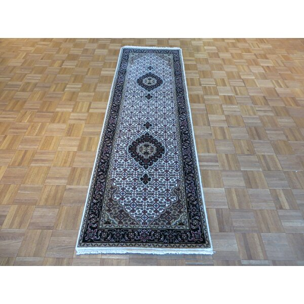 One-of-a-Kind Raiden Hand-Knotted Wool Ivory/Black Area Rug by Astoria Grand