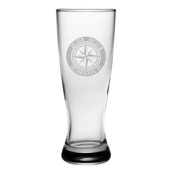 Galvez Compass Rose Grand Pilsner 20 oz. Glass Pint Glass (Set of 4) by Longshore Tides