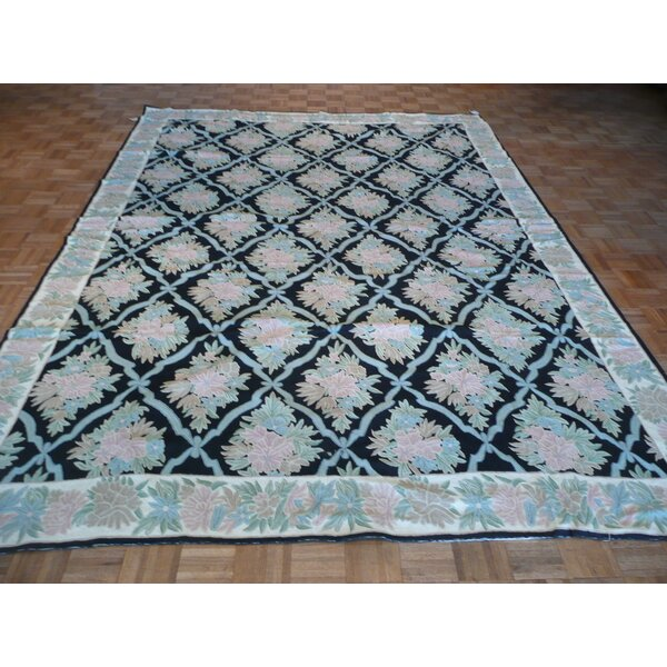 One-of-a-Kind Josephson Hand-Knotted Wool Black Area Rug by Canora Grey