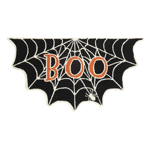 Corey Boo Spider Web Shaped Hand-Hooked Wool/Cotton Black/Orange Area Rug by The Holiday Aisle