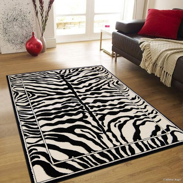 Hand-Tufted White/Black Area Rug by AllStar Rugs
