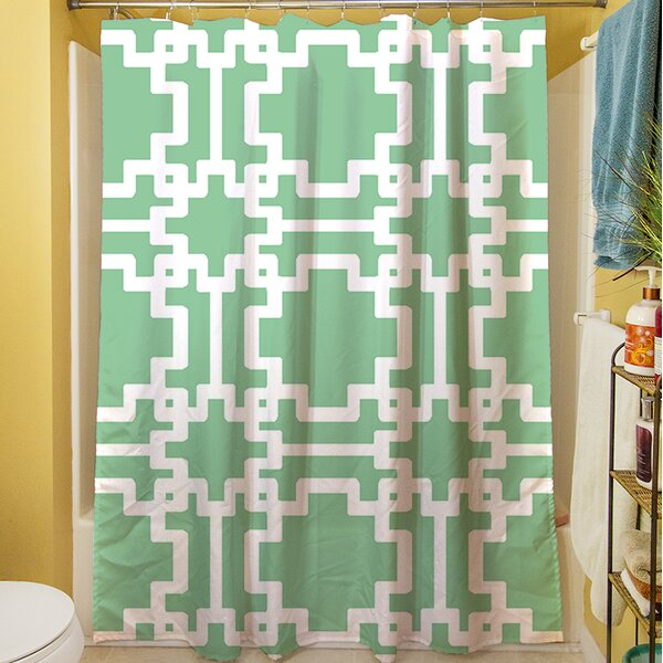 Modern Geometric Mint Shower Curtain by Manual Woodworkers & Weavers