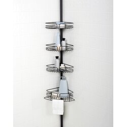 Tension Pole Corner Shower Caddy versalot tub and shower tension pole corner shower caddy & reviews