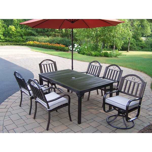 Lisabeth 8 Piece Dining Set with Cushions and Umbrella by Red Barrel Studio
