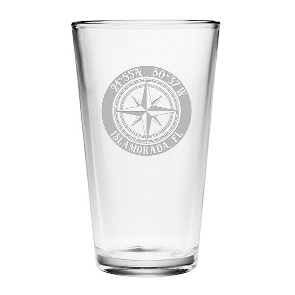 Galvez Compass Rose 16 oz. Glass Pint Glass (Set of 4) by Longshore Tides