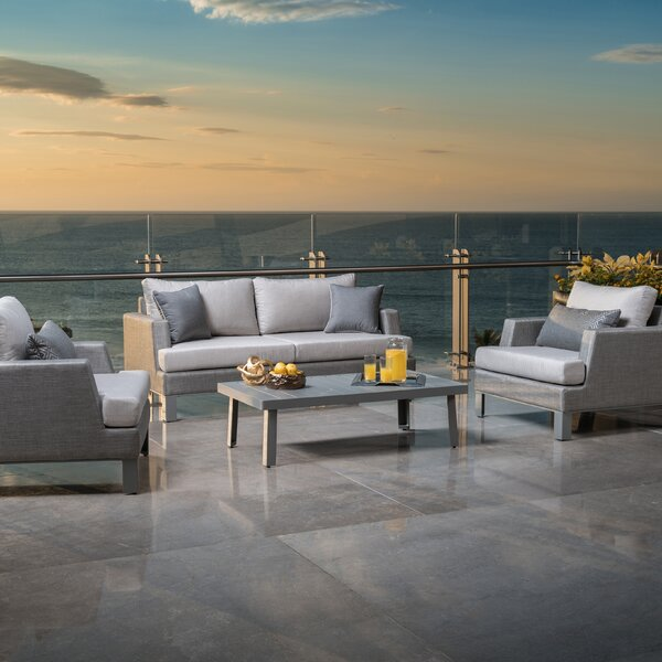 Shiey 4 Piece Sunbrella Sofa Seating Group with Cushions by Brayden Studio