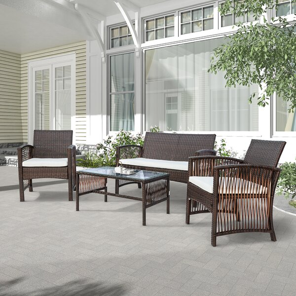 Orrin 4 Piece Rattan Sofa Seating Group with Cushions