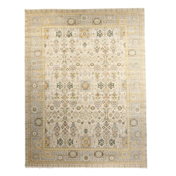 One-of-a-Kind Bergmann Hand-Knotted 8 x 10 Wool Ivory Area Rug by Canora Grey