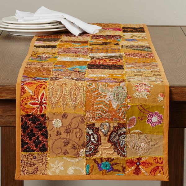 Jatia Hand Crafted Cotton and Poly Recyled Sari Table Runner by Bloomsbury Market