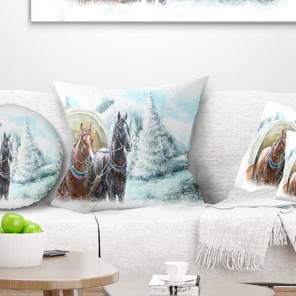 Landscape Printed Painted Scene with Horses in Winter Pillow by East Urban Home