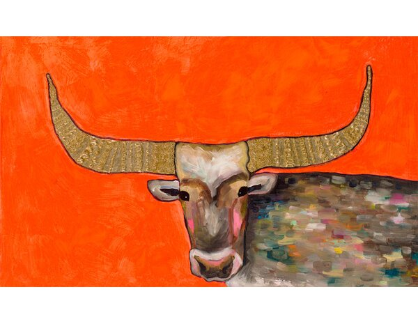 Golden Bull by Eli Halpin Framed Painting Print on Canvas in Red by GreenBox Art