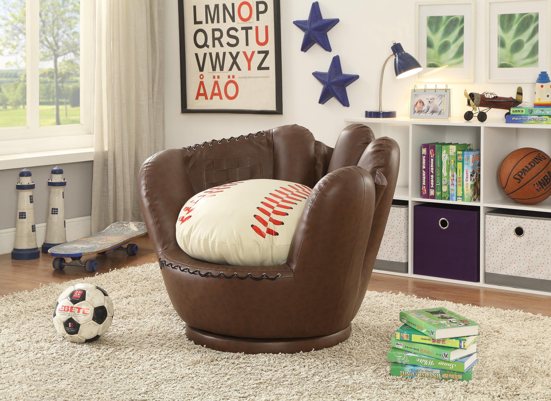 Merveilleux Crown Mark Baseball Glove Kids Faux Leather Chair   Wayfair