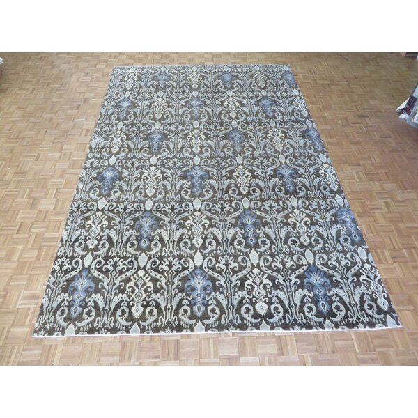 One-of-a-Kind Railsback Ikat Hand-Knotted Silk Brown Area Rug by Astoria Grand