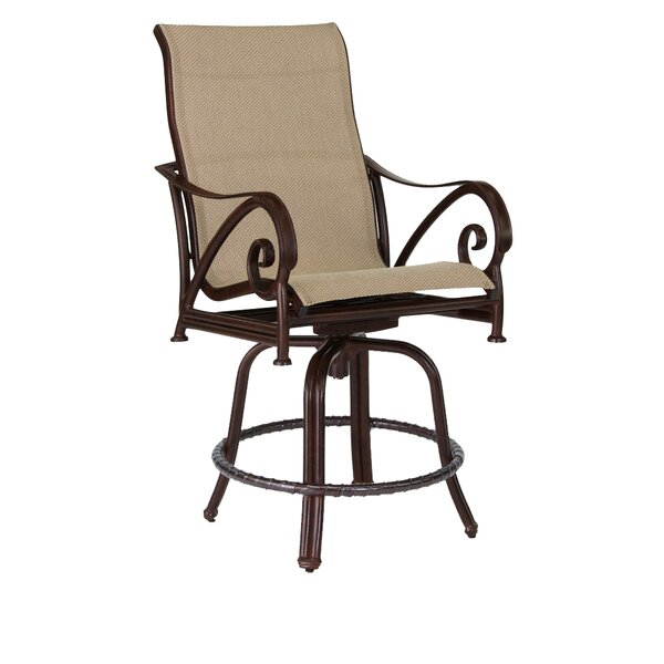 Lucerne Sling Swivel Patio Bar Stool by Leona