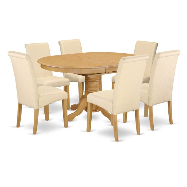 Park Row Oval Room Table 7 Piece Extendable Solid Wood Dining Set by Charlton Home Charlton Home
