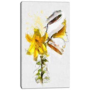 'Yellow Tulip Stem with Leaves' Painting Print on Wrapped Canvas by Design Art