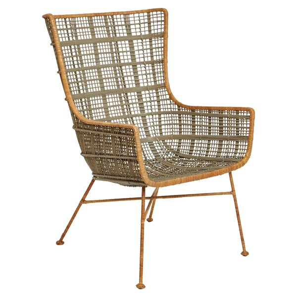 Erin Handwoven Wicker and Wrought Iron 19.5-inch Wingback Chair by Bayou Breeze Bayou Breeze