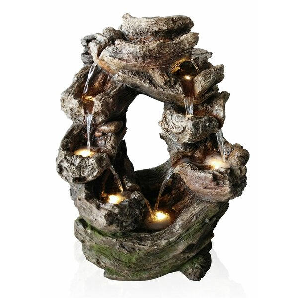 Polystone Tiered Rock Cascading Fountain with LED Light by Alpine