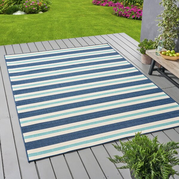 Gilmartin Striped Blue Indoor/Outdoor Area Rug by Highland Dunes