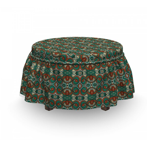 Abstract Swirling Motifs Ottoman Slipcover (Set Of 2) By East Urban Home