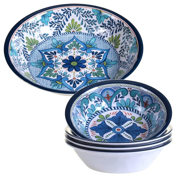 Talavera 5 Piece Heavy Weight Melamine Salad Serving Bowl Set by Certified International