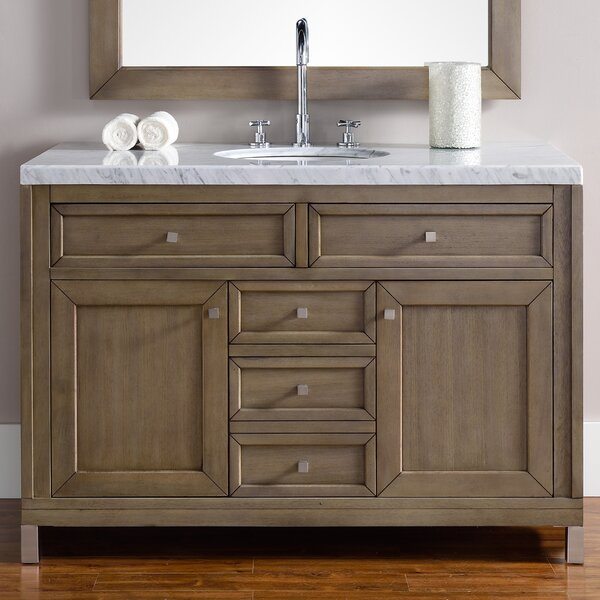 Valladares 48 Single White Washed Walnut Solid Wood Base Bathroom Vanity Set by Brayden Studio