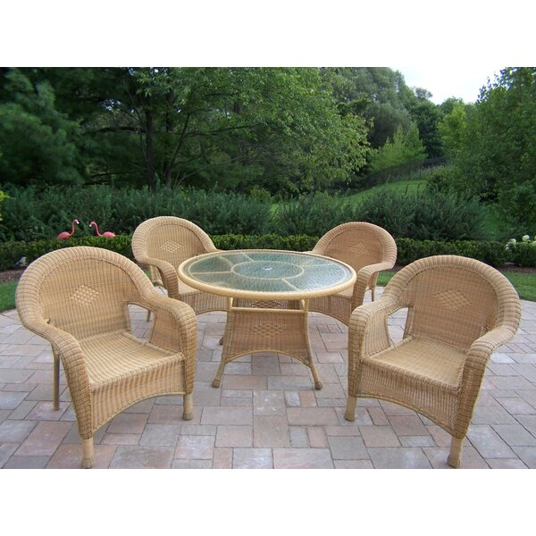 Kingsmill 5 Piece Wicker/Rattan Dining Set by Rosecliff Heights