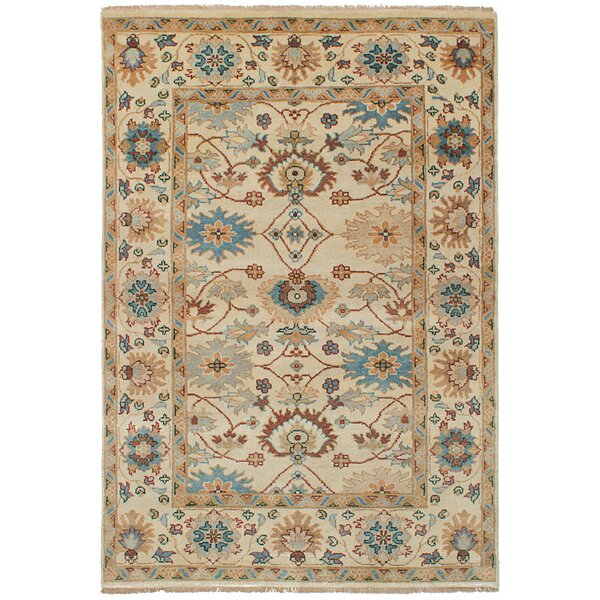 One-of-a-Kind Haleyville Wool Hand-Knotted Cream Area Rug by Isabelline
