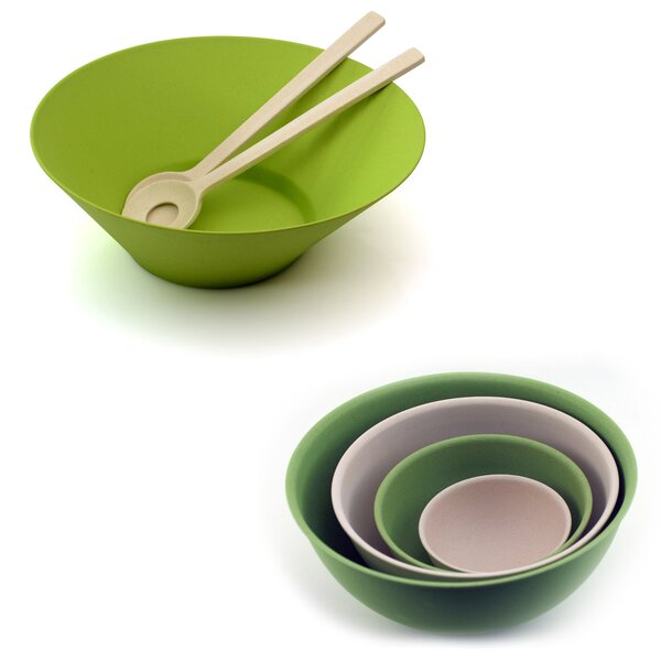 Bamboo 7  Piece Salad Bowl Set by BergHOFF International