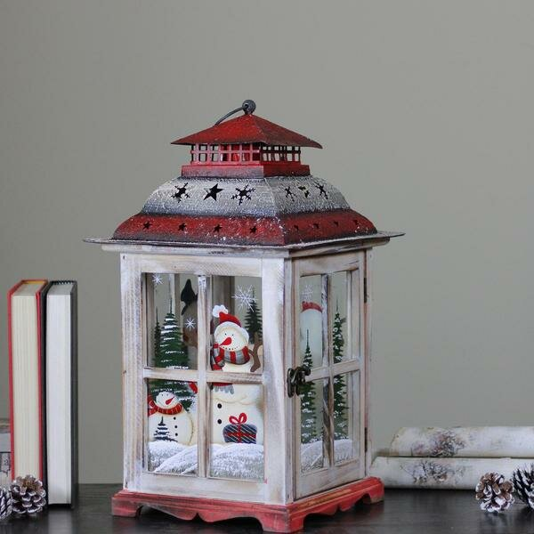 Rustic Holiday Snowman Metal and Wood Lantern by The Holiday Aisle