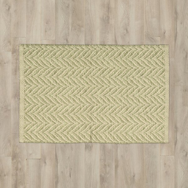 Templos Light Green/Beige Area Rug by Beachcrest Home