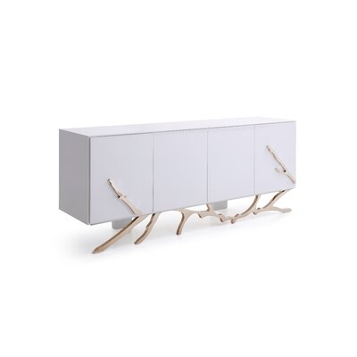 """Orren Ellis Dalessio 79"""" Wide 2 Drawer Buffet Table  Color: White/Champagne Gold"""