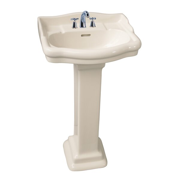 Stanford 460 Vitreous China 18 Pedestal Bathroom Sink with Overflow by Barclay