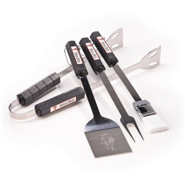 NCAA 4 Piece BBQ Grill Tool Set by BSI Products