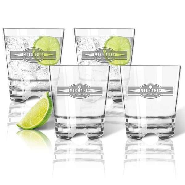 Tritan Sports Food Drink Banner 12 oz. Double Old Fashioned Glass (Set of 4) by Carved Solutions