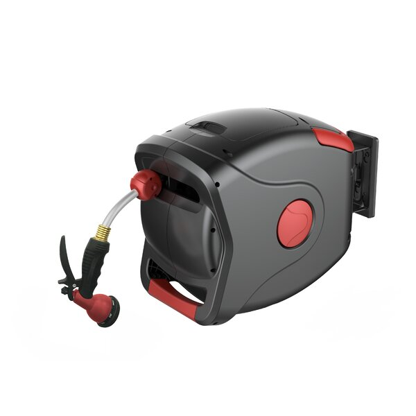 Plastic Wall Mounted Hose Reel with Automatic Rewind by GARTENKRAFT