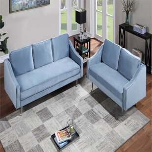 Living Room Sets With Upholstered Armchair(Loveseat Sofa & 3-Seat Sofa) by Everly Quinn